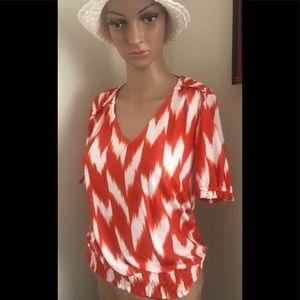 Michael Kors orange white ikat blouse